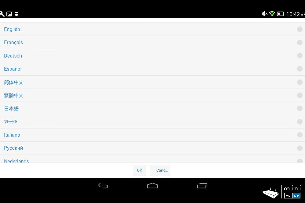 EZCast 4K - app languages menu
