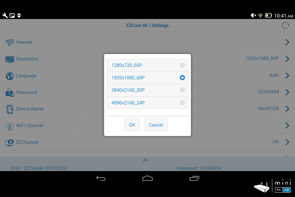 EZCast 4K - app video output menu