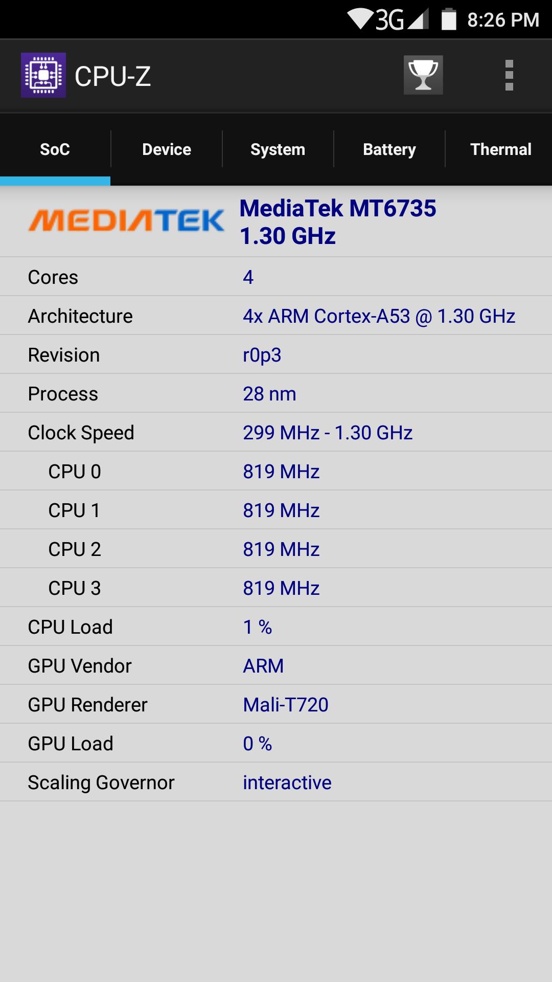 Elephone S3 AnTuTu CPU-Z SoC
