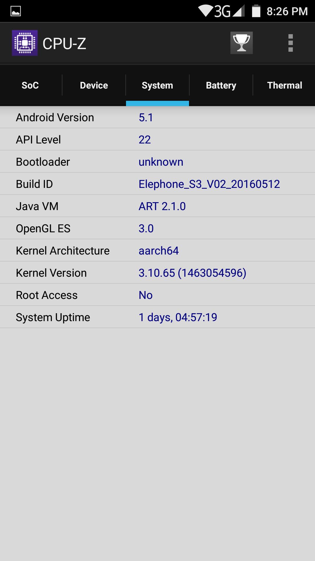 Elephone S3 AnTuTu CPU-Z system