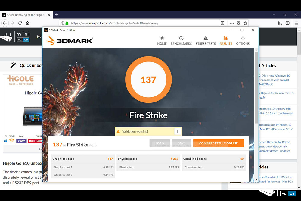 Higole Gole10 - FireStrike benchmark