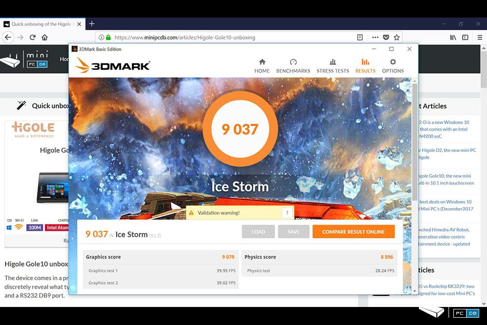 Higole Gole10 - 3DMark IceStorm