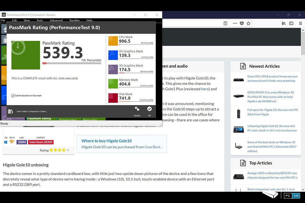 Higole Gole10 - Passmark 9.0 benchmark