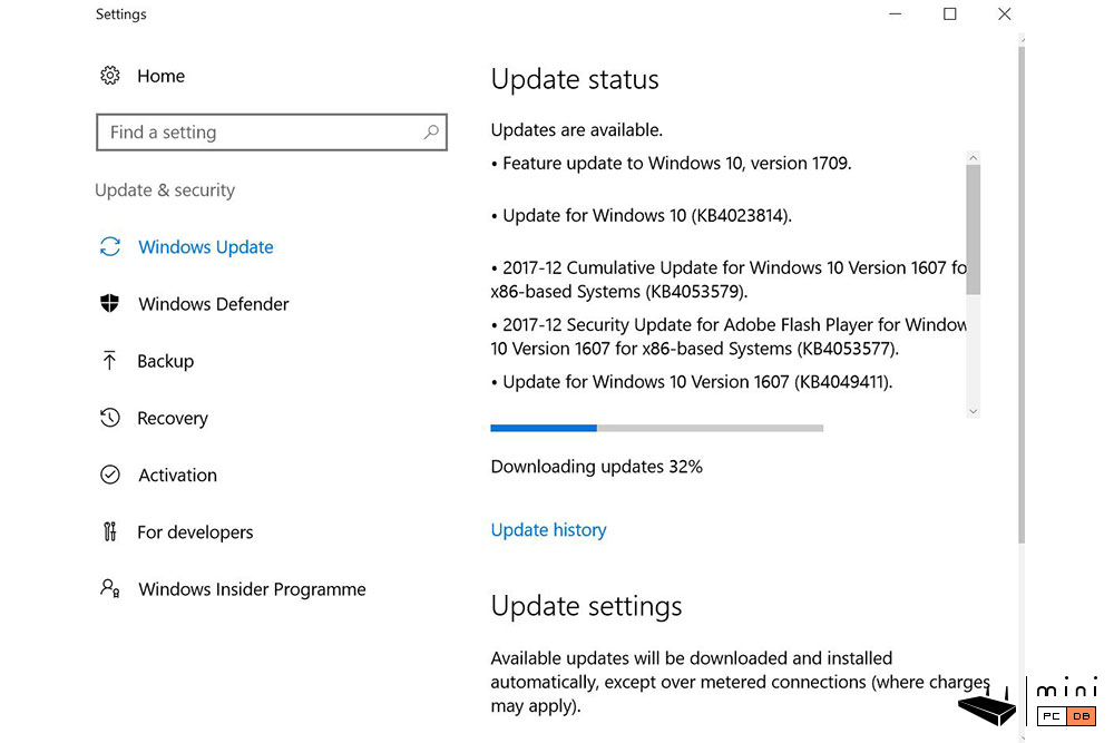 Higole Gole10 - Windows promptly asks to be updated