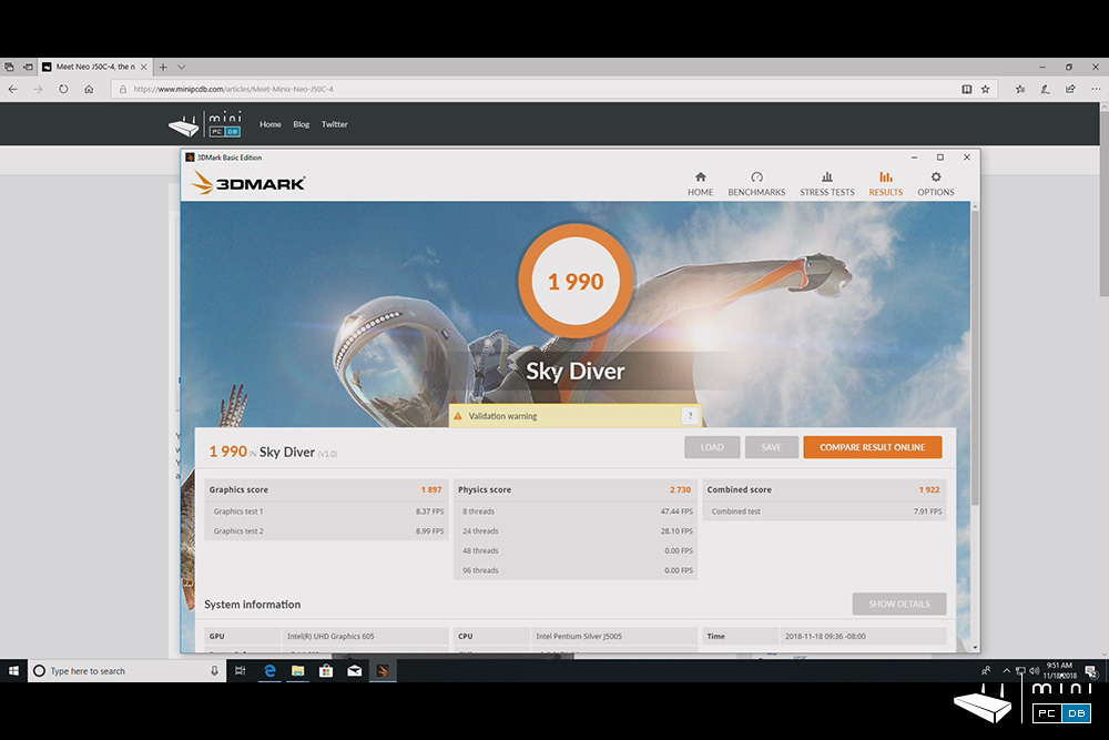 J50C-4 benchmarks : 3DMark SkyDiver