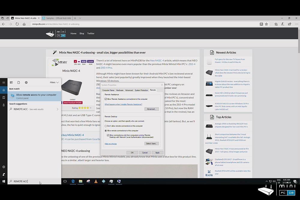 Minix NEO N42C-4 : Remote Desktop