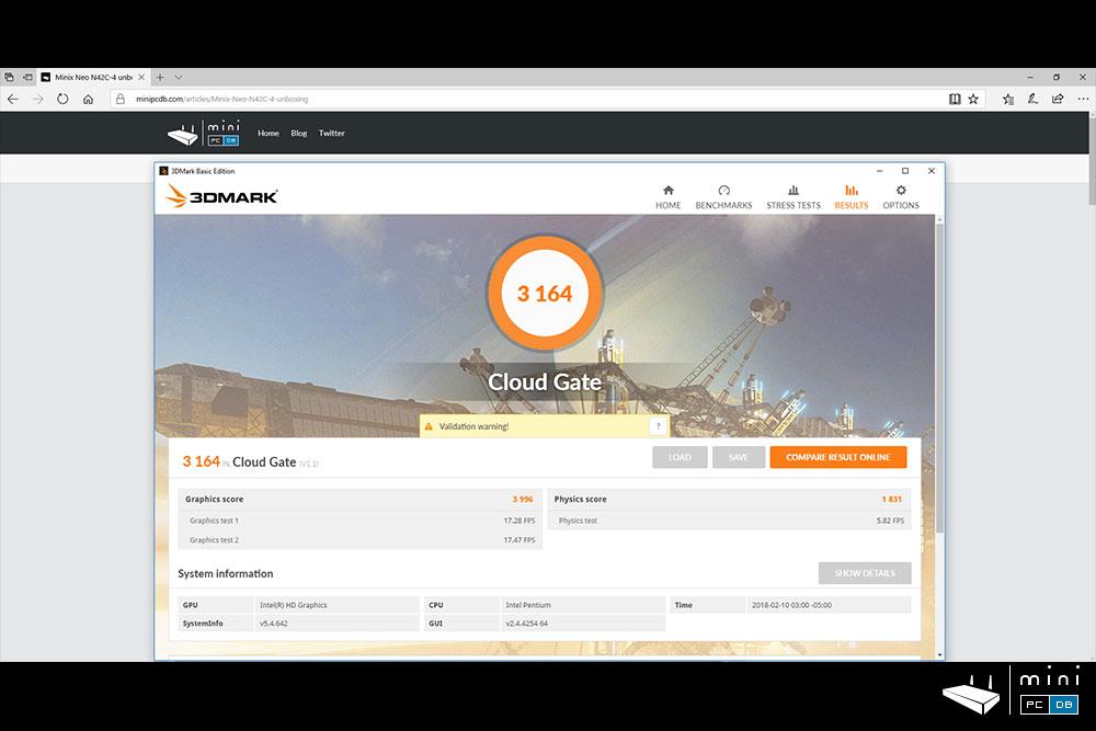 Minix NEO N42C-4 benchmarks: 3DMark CloudGate