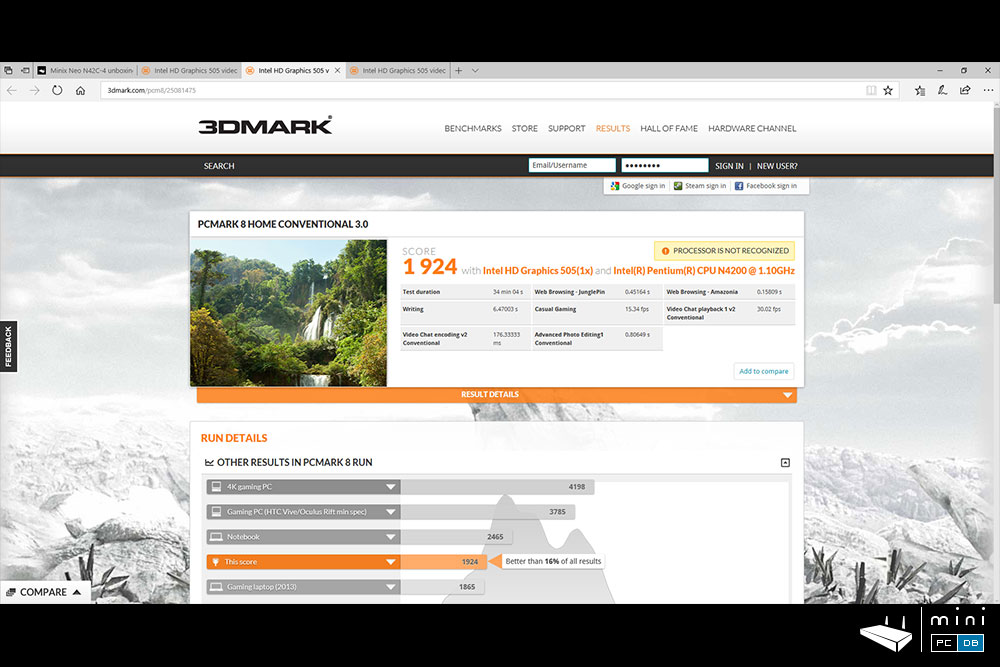 Minix NEO N42C-4 benchmarks: PCMark Home Conventional