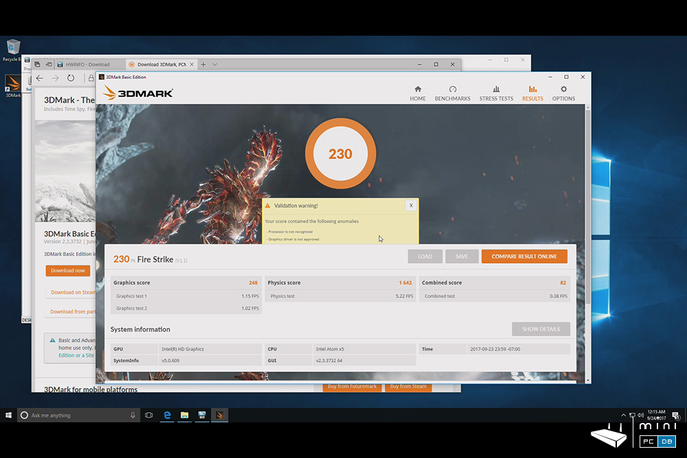 Minix NEO Z83-4 Pro benchmarks - 3DMARK FireStrike