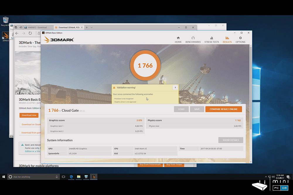 Minix NEO Z83-4 Pro benchmarks - 3DMARK CloudGate