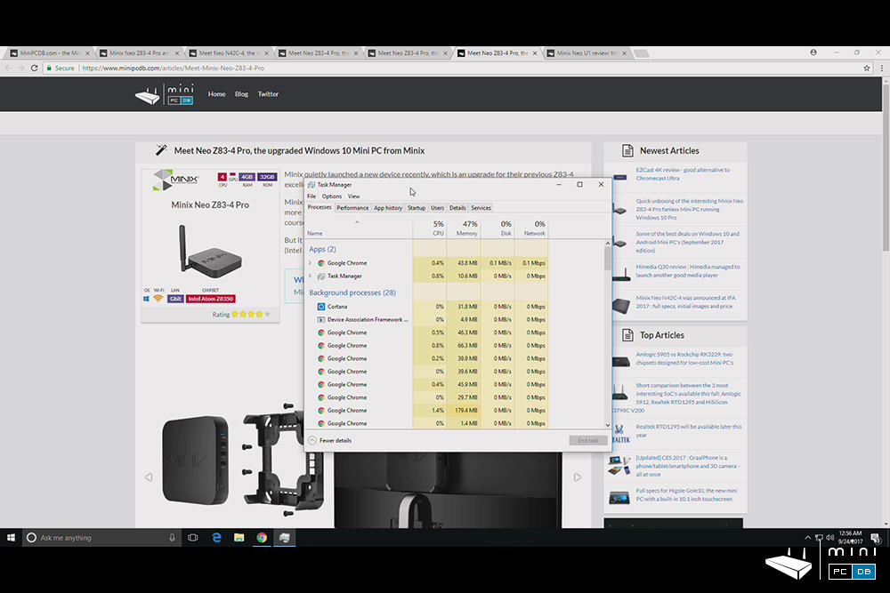 Minix NEO Z83-4 Pro - browsing