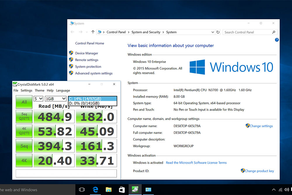Minix Z Windows 10 screenshot showing 8GB or RAM and 256 GB storage (SSD)