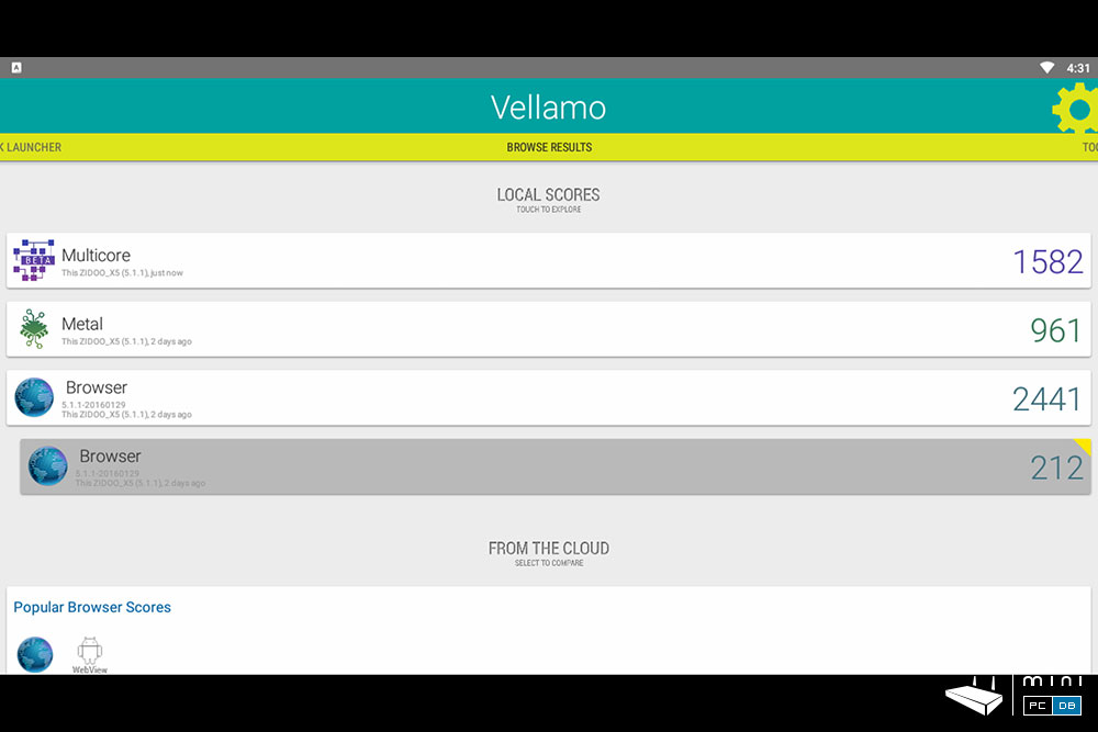 Zidoo X5 Vellamo results