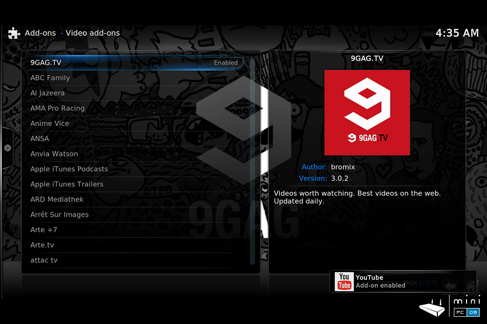 Minix U1 video playback: XBMC Minix edition addons